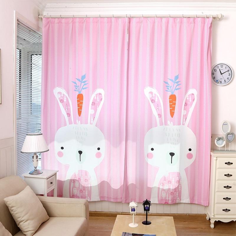 3D kinderen roze leuke konijn gordijnen kinderkamer koreaanse stijl ...