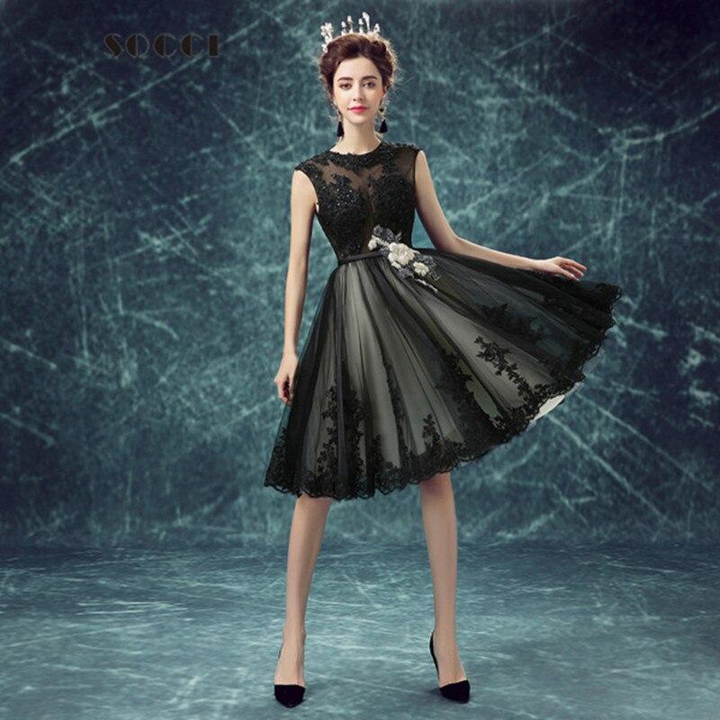 Simple And Elegant Wedding Dresses Boat Neck Three Quarter: Short Black Sexy Elegant Lace Evening Dress Beading Flower