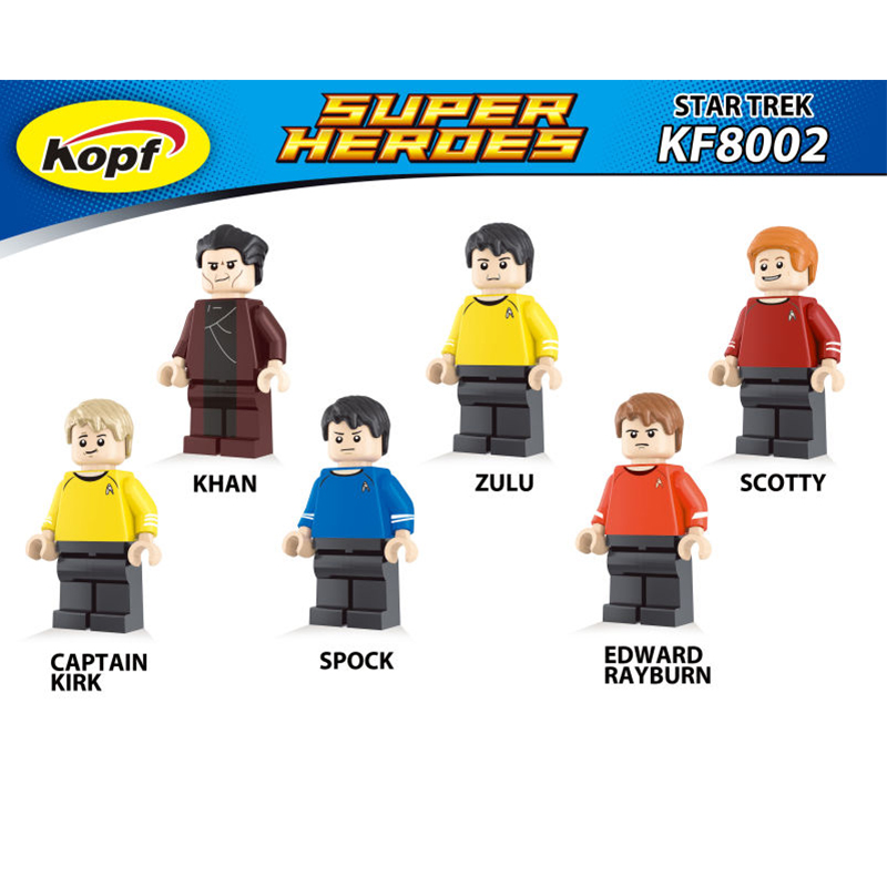 Star Trek Zulu Eoward Tayburn Captain Kirk Khan Scotty Spock Super Heroes Bricks Model Building Blocks Toys for children KF8002  star trek zulu eoward tayburn captain kirk khan scotty spock super heroes bricks model building blocks toys for children kf8002