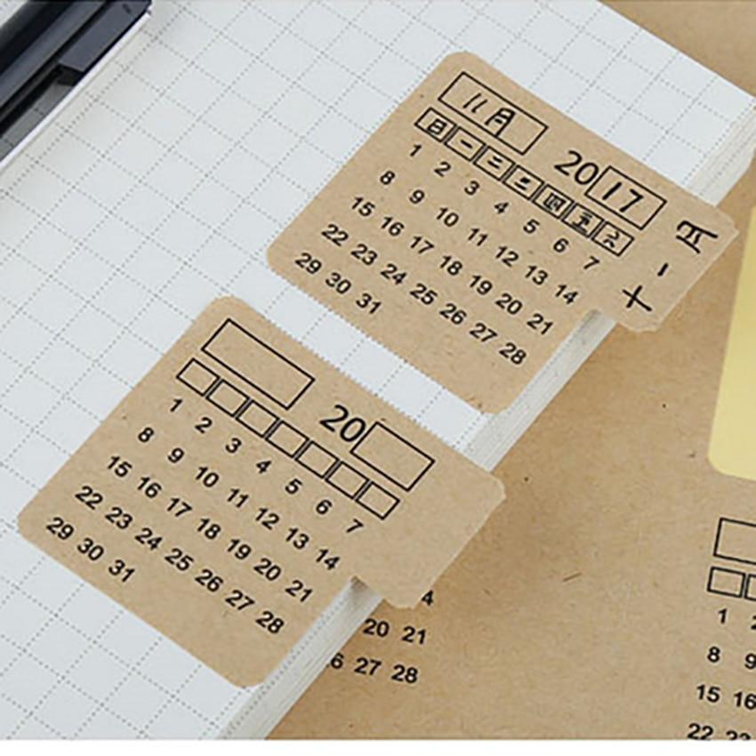 2 Sheet/set 2019 Calendar Index Sticker Date Label Handwritten Blank Notebook Stationery Classification Calendar Schedule