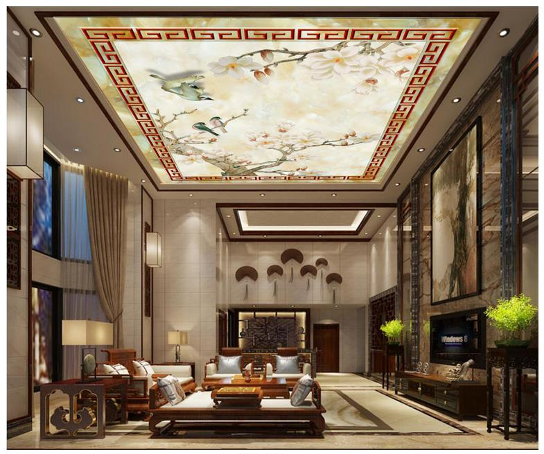 Us 13 89 47 Off Custom 3d Photo Wallpaper 3d Ceiling Murals Wallpaper Chinese Orchid Xiangsheli Ceiling Murals Marble Texture Ceiling Frescoes In