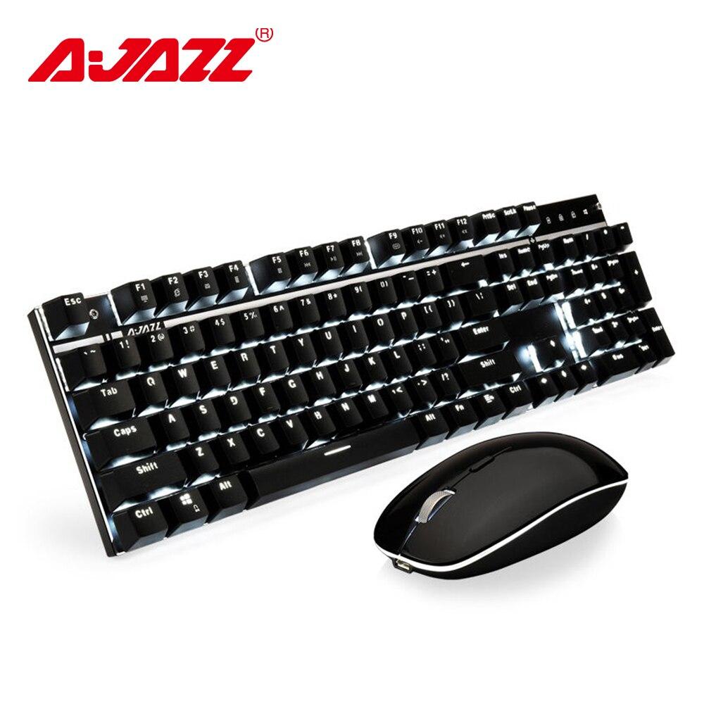 Ajazz a3008 2.4g teclado mecânico sem fio rato combos jogo teclado mouse conjunto branco backlit azul switches 1600 dpi mouse