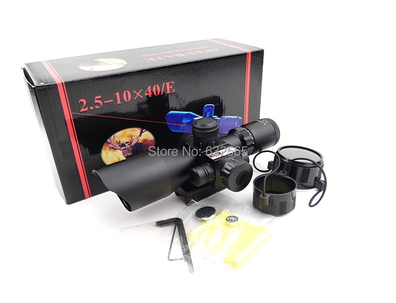 ФОТО Free Shipping! 2.5-10X40 Illuminated Rifle Scope with Mil-Dot Reticle Red Laser