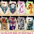 Casos de telefone para alcatel onetouch pixi 4 ot4034 5010d 4034d ot-5010 5010D Flash 2 7049D 4034E 4034F 3G Animais Tampa Da Caixa de Volta