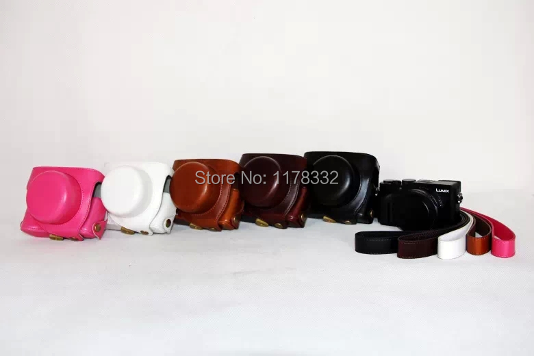 Leather <font><b>Case</b></font> Camera Bag Cover For Panasonic <font><b>Lumix</b></font> <font><b>LX100</b></font> With Strap 5 Colors Black Coffee Brown White Pink image