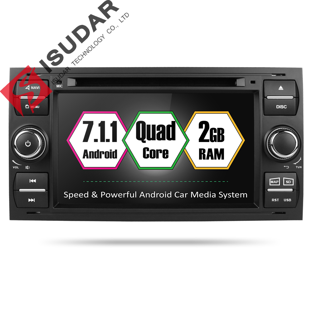 Isudar Car Multimedia Player Android 7.1.1 GPS Autoradio 2 Din 7 Inch For Ford/Mondeo/Focus/Transit/C-MAX/S-MAX/Fiesta 2GB RAM цена 2017