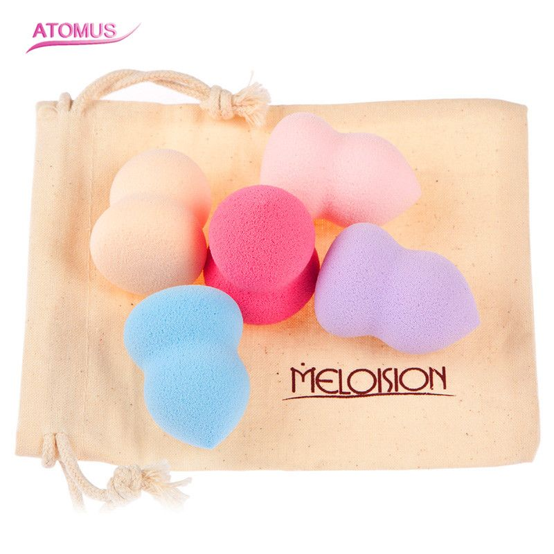 Professional 5PCS mix colors Cosmetic Makeup Sponge Blender Powder Foundation Puff Flawless Smooth Shaped Sponges Makeup Blender candy color calabash shaped cosmetic makeup cotton pads sponge puff pink