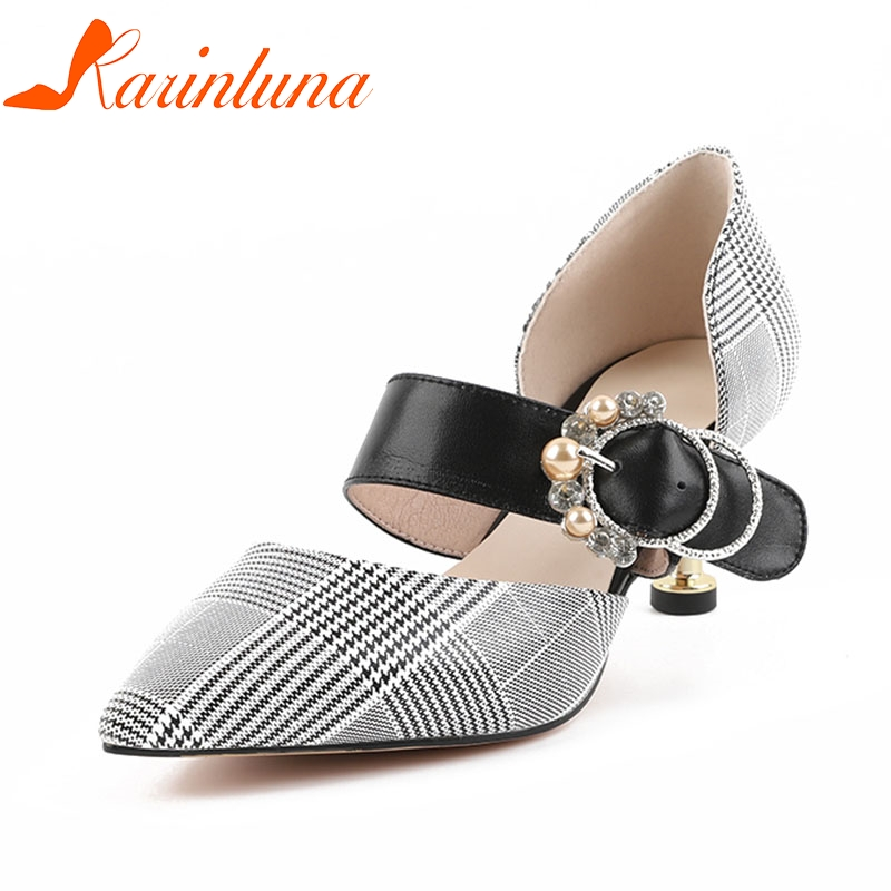 KARINLUNA 2018 Cow Leather Pointed Toe Buckle Strap Women Shoes Woman Thin High Heels Pumps Woman Shoes Size 34-39 women pumps flock high heels shoes woman fashion 2017 summer leather casual shoes ladies pointed toe buckle strap high quality