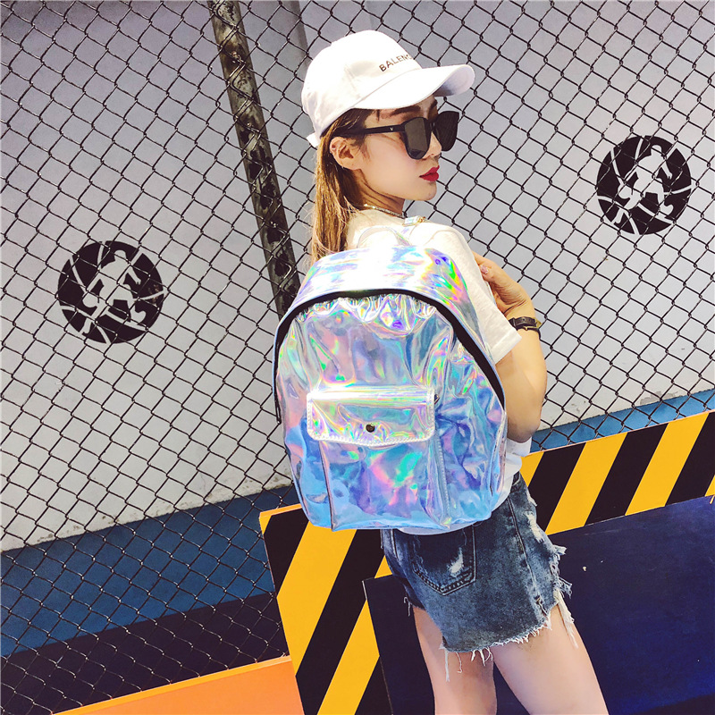 Harajuku Laser Womens Backpack Large Capacity PU Leather Knapsack for Teenager Girls Candy Color Travel School Bag Students SacHarajuku Laser Womens Backpack Large Capacity PU Leather Knapsack for Teenager Girls Candy Color Travel School Bag Students Sac