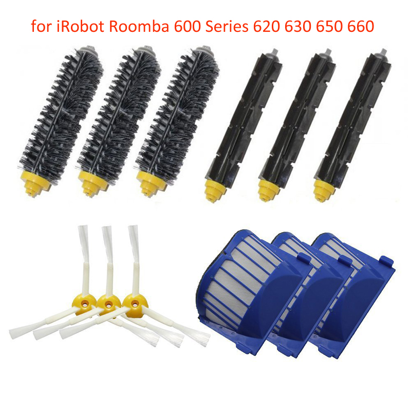 3 Blue AeroVac Filter + 3 set main Brush kit +3 side brush for iRobot Roomba 600 Series 620 630 650 660 replacement parts
