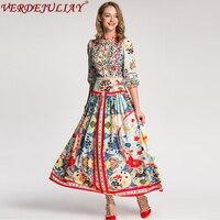 Ethnic Long Dresses New 2019 Summer Women Fashion Flowers Print 3/4 Lantern Sleeve Ankle Length Hot Sale Popular Dress