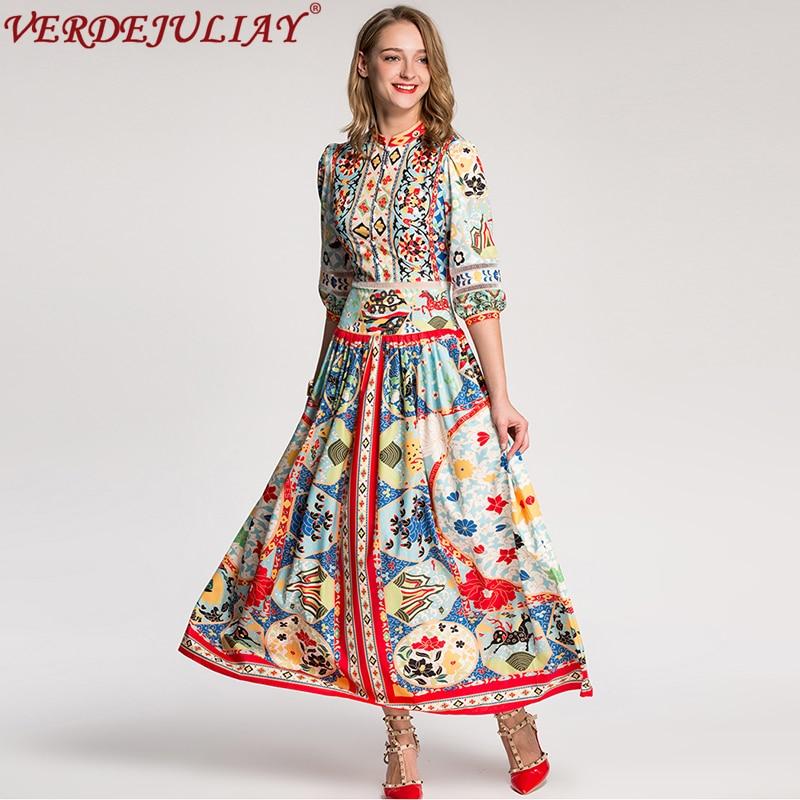 950d59be9dc8d Cheville Spéciale Offre Robes Robe Populaire Longues As longueur Manches 4  2019 Fleurs D été Nouveau ...