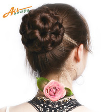 Allaosify Synthetic High Temperature Fiber Chignon Nine flowers Hair Women Curly Chignon Hair Bun Donut Clip In Hairpiece(China)