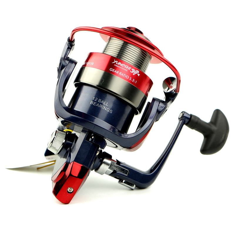 Yumoshi Metal Line Cup Spinning Fishing Reel Moulinet Peche Casting 5.5:1 Reels Size 12BB 2000 - 7000