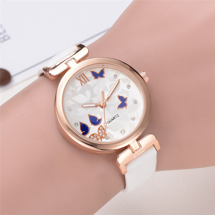 Women Watches Women Fashion Butterfly Style Leather Band Analog Quartz Wrist Ladies Watch Montre Femme Clock Relogio  5 newly design dress ladies watches women leather analog clock women hour quartz wrist watch montre femme saat erkekler hot sale