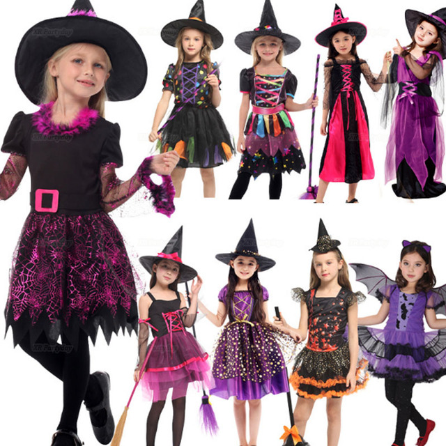 Arrival  Party Children Kids Cosplay Witch Costume For Girls  Costume Party Witch Dress With Hat  Halloween Christmas