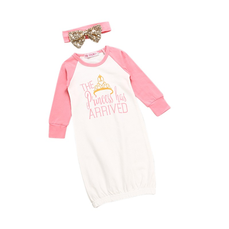 Autumn Winter Baby Sleeping Clothes Crown Printed Cotton Dressing Jersey + Head Knot Tops Clothes