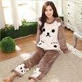 Nuevo invierno Engrosada Dormir Coral Polar Pijamas Casa Ropa Traje de Terciopelo de Coral Ropa Para El Hogar Ocio Franela Pijama Femme