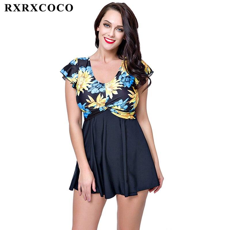 RXRXCOCO One Piece Swimsuit 2017 New Plus Size Swimwear Women Floral Print Monokini Set Sexy Off Shoulder Bathing Suit Bodysuits plus size scalloped backless one piece swimsuit