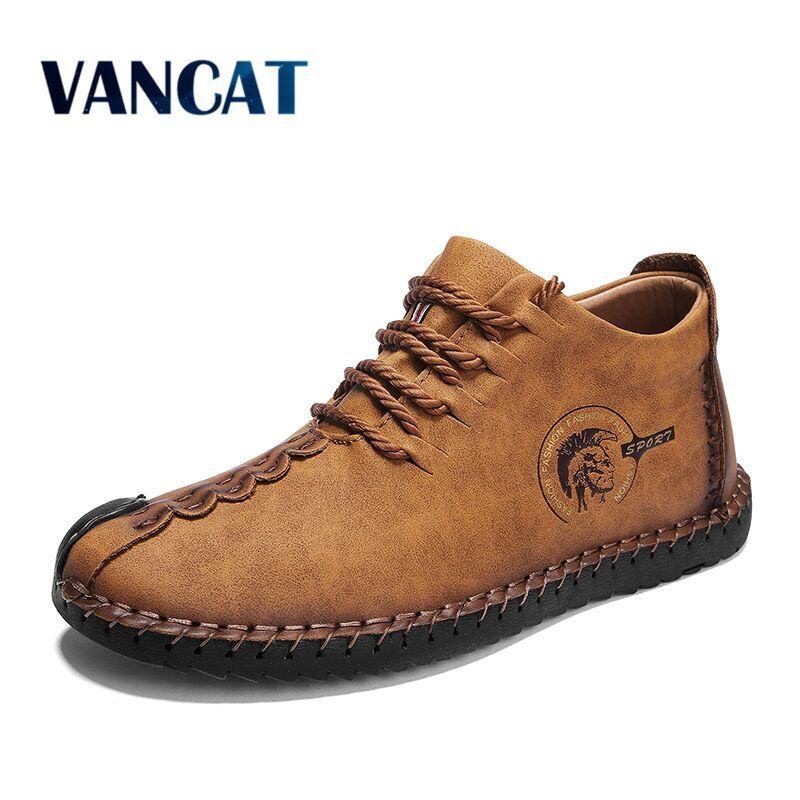 2019 Heißer Leder Männer Schuhe Frühling Herbst Herren Stiefel Fashion Lace Up Ankle Stiefel Männer Casual Schuhe Zapatillas Hombre Größe 48