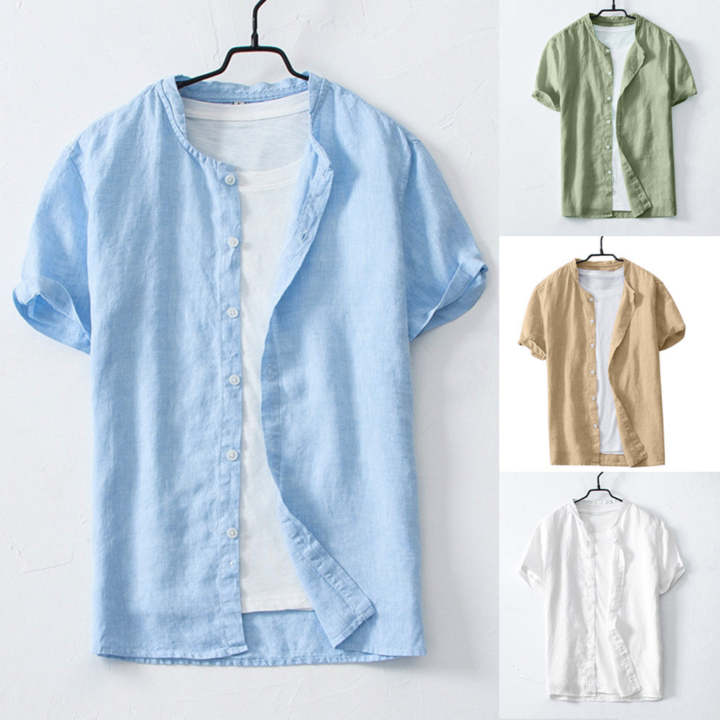 2019 Summer Plus Size Men's Cool Thin Breathable Solid Color Button Cotton Shirt Short Sleeve Camisa Masculina Camisas Hombre