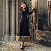 VERRAGEE женское 2019 весеннее длинное платье черное винтажное платье
