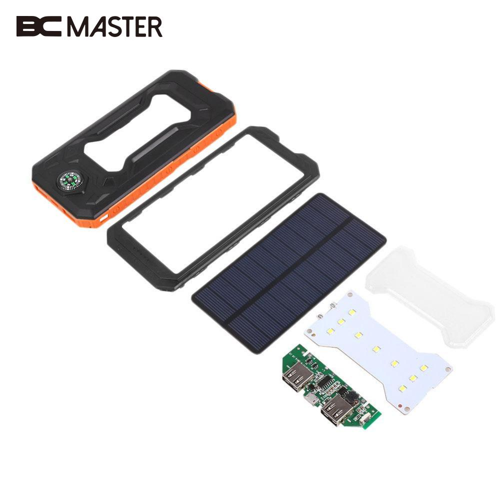 BCMaster Waterproof Solar Panel Charger DIY Kit Set Outdoor Travelling Powerbank Power Gift Circuit Board Plate With Compass