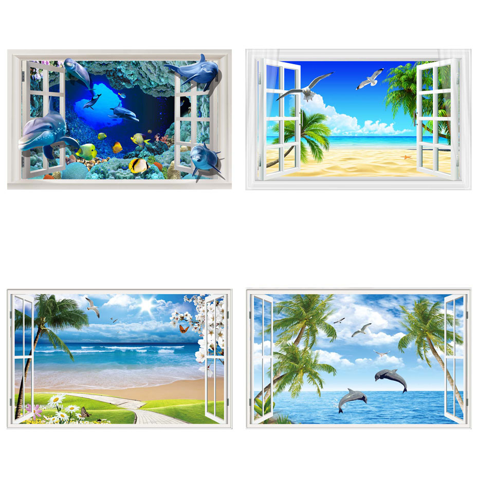 Beautiful Sky Tropical Ocean 3D Window View Blue Sea Home Decor Wall Sticker Creative Scenery Living Room Office Decals Stickers