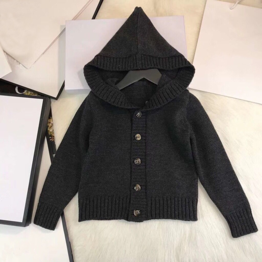 Boys Cardigan Black Hooded Fleece Knitted Sweater Kids Casual Winter Baby Cardigan Autumn Children Sweater in stock knitted rib cuff zip up graphic cardigan
