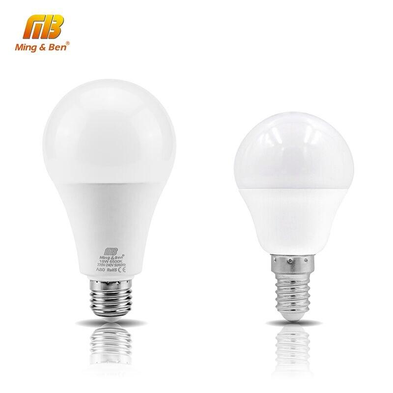 LED E14 LED מנורת E27 LED הנורה AC220V 230 V 240 V 18 W 15 W 12 W 9 W 7 W 5 W 3 W חכם IC Lampada LED זרקור מנורות שולחן אור ומביליה