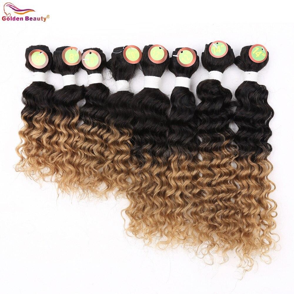 8-14inch Deep Wave Bundles Weave Hår Syntetisk Kort Sy i - Syntetiskt hår - Foto 1