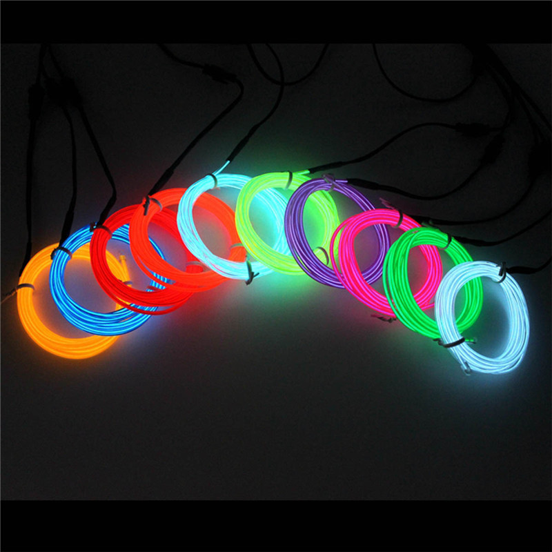 Colorful Light strip 2m/3m/5m led strip with DC power wire strip for party holiday dector Glow EL Wire Rope Tape Cable Strip ...