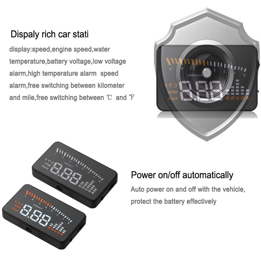 Image 3 - X5 Car Hud Head Up OBD 2 Display Digital Speedometer Overspeed Alarm Auto Windshield Projector OBD ii Car Electronics-in Head-up Display from Automobiles & Motorcycles