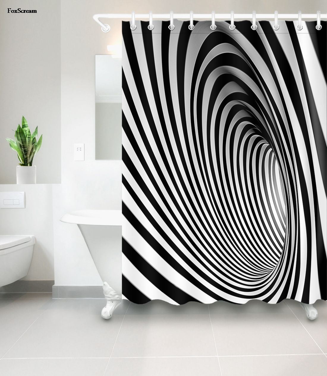 African Shower Curtain Bathroom Waterproof Cortinas Modern White Black Zebra Pattern Fashion Polyester