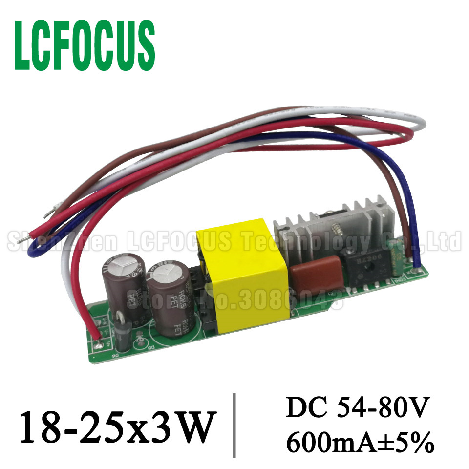 2pcs 18-25x3W LED Driver 54W 60W 66W 75W Power Supply 600mA 54-80V Lighting Transformers For 54 60 66 75 W Watt Lamp Bulb Light image