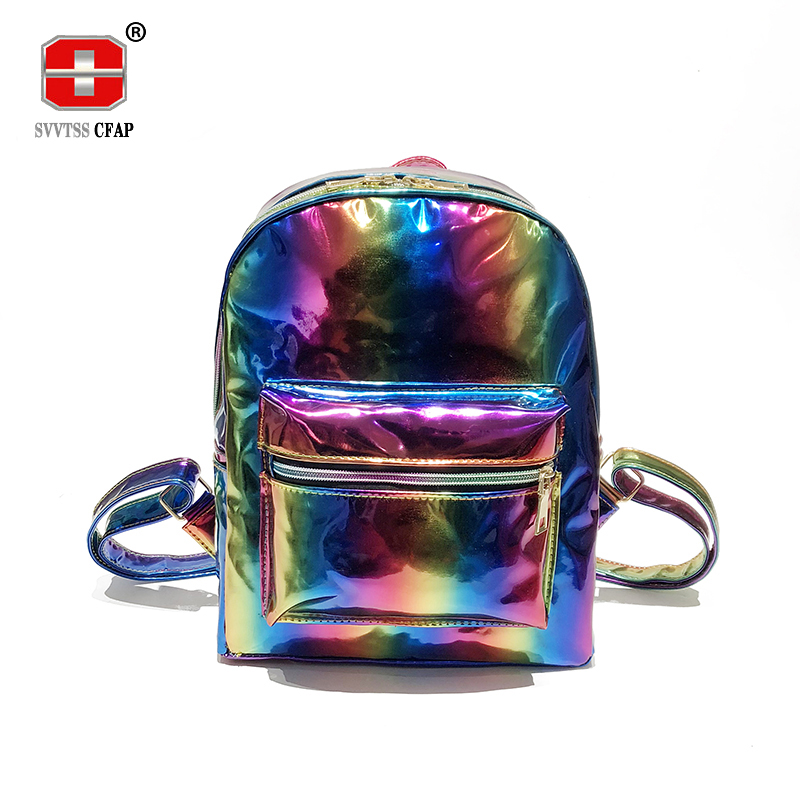 New Rainbow Laser Back Pack Female Fashion Solid pu leather women Backpack for Teenage Girls back bag Bagpack Mochila