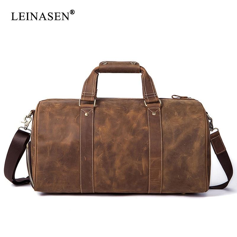 2019 New Vintage Crazy horse Genuine Leather Men Travel Bags Luggage Travel Bag Leather Men s