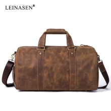 2019 New Vintage Crazy horse Genuine Leather Men Travel Bags Luggage Travel Bag Leather Men's Duffle Bags Large Men Weekend Bag 2018 vintage crazy horse genuine leather travel bag men duffle bag luggage travel bag large weekend bag overnight tote li 1828