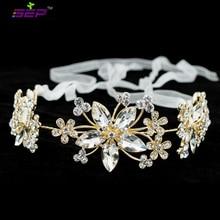 2016 New Clear Crystals Rhinestone Headband Chain Ribbon Women Hair Band Bridal Wedding Hair Jewelry Pageant