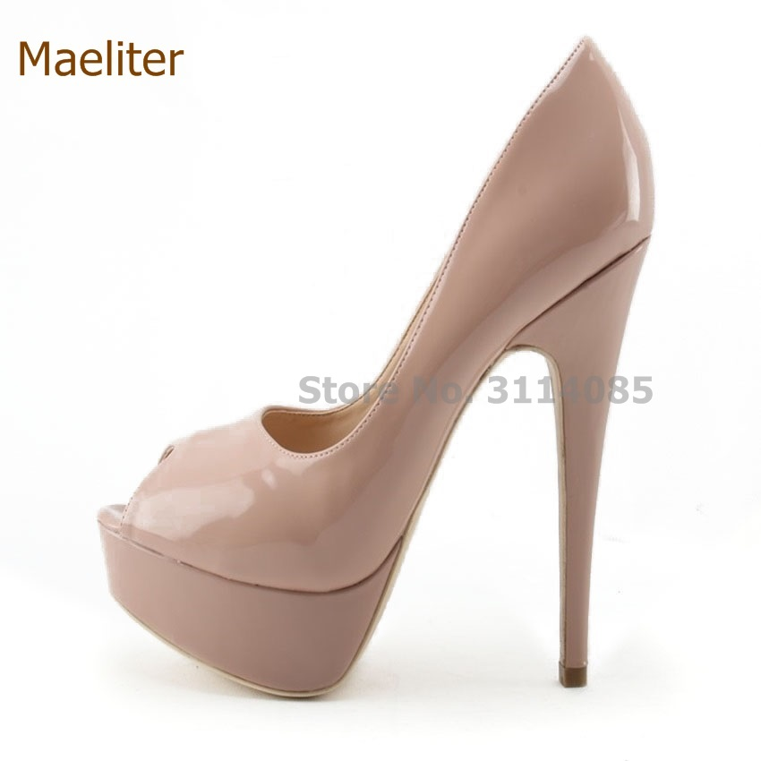 Women High Heels Fashion Peep Toe Pumps Lady Sexy Open Toe Wedding Shoes High Quality Nude Black Patent Leather Platform Shoes