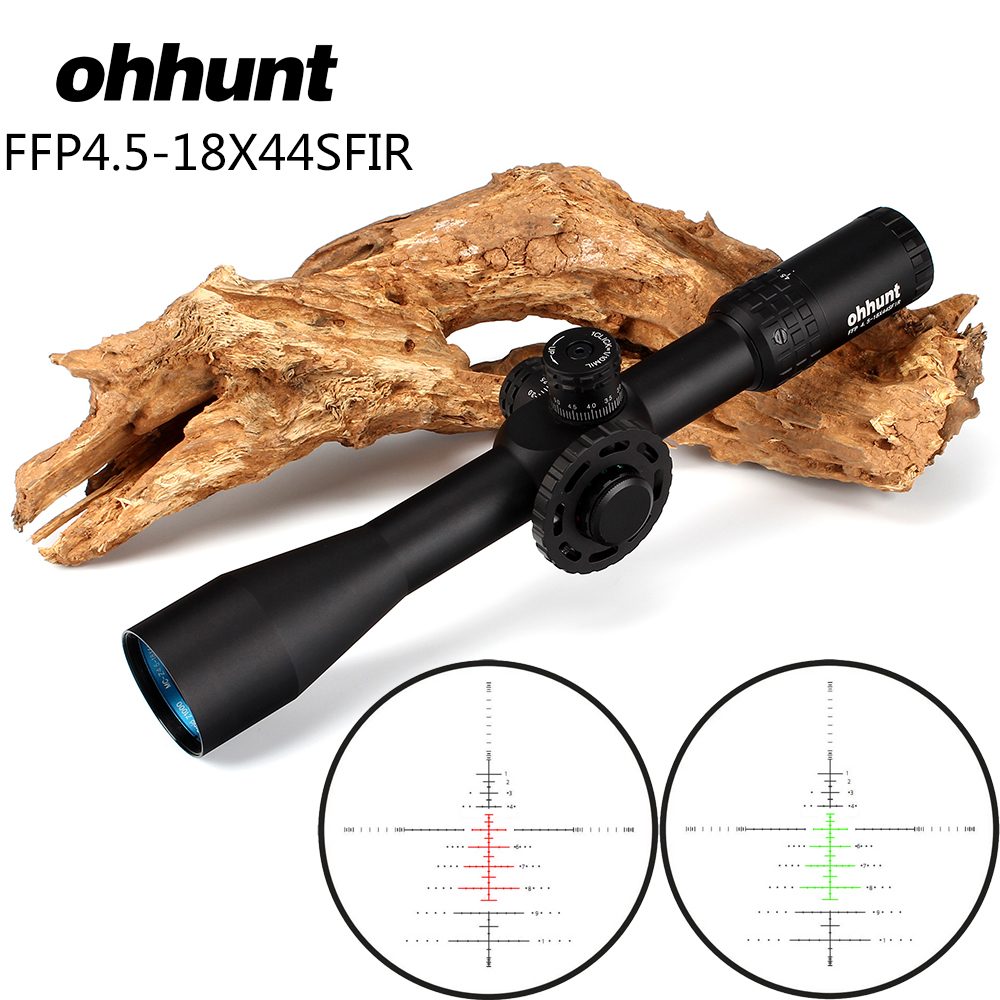 ohhunt 4.5-18X44SFIR First Focal Plane Hunting Riflescopes Glass Etched Reticle Turrets Lock Reset Side Wheel Focus Rifle Scope marcool 4 16x44 side focus front focal plane optical sights rifle scope hunting riflescopes for tactical gun scopes for adults