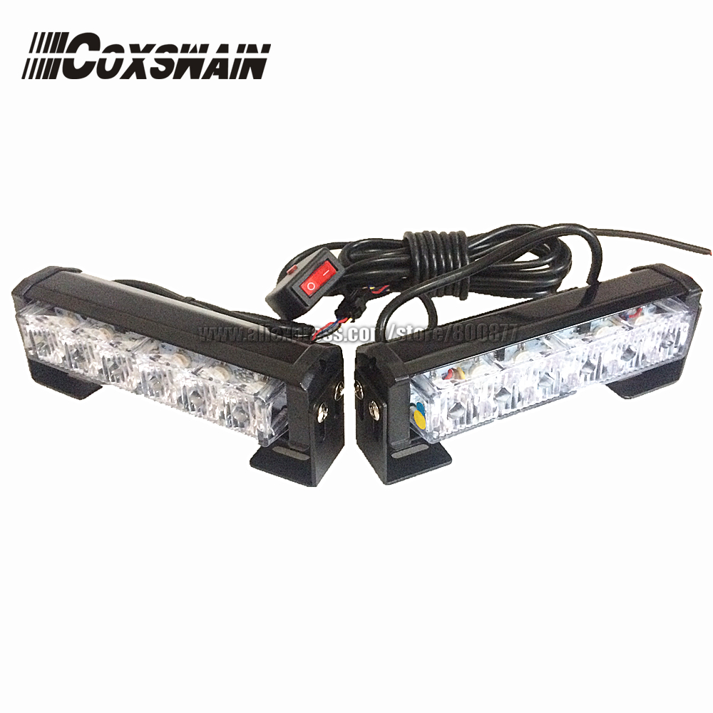 цена на Dual Color 2X6 LED Car Warning Strobe Flash emergency light EMS Police warning Light, 13 Modes Day Running Light DRL (CS-6D-2)