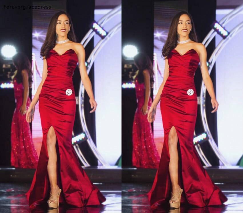 2019 pas cher sirène longue robe de soirée rouge chérie vacances tenue de femme formelle fête robe de bal sur mesure grande taille