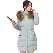 2017 winter women hooded coat fur collar thicken warm long jacket female plus size 3XL outerwear parka ladies feminino 3L98