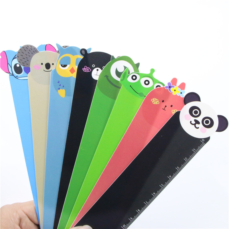 8 PCS Random Panda Owl Straight Ruler School Supplies 8 Style 15cm Kawaii Animal Plastic Bendable Ruler Measuring Straight Ruler