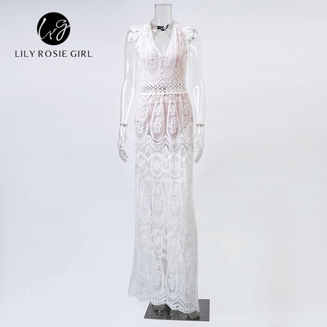 Sexy Hollow Out White Lace Dress Women Spring High Waist Sleeveless Backless Dress Elegant Christmas Maxi Long Dress Vestidos