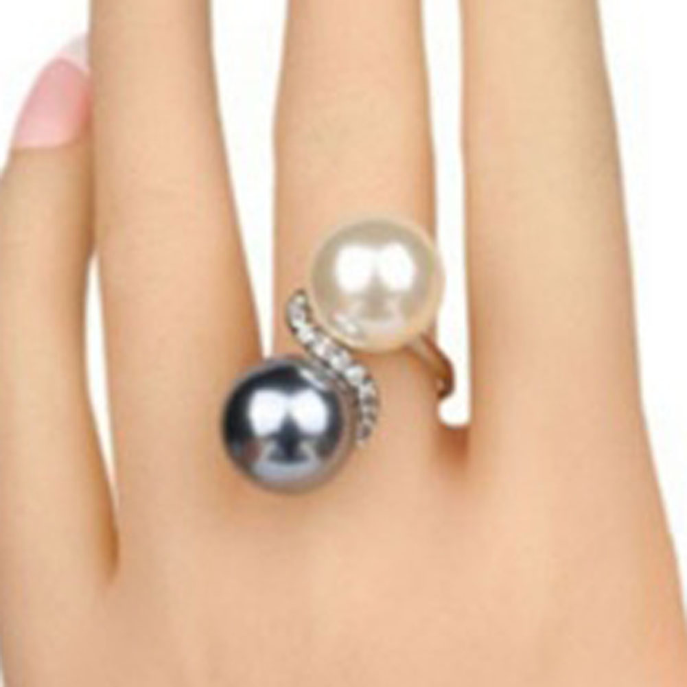 Double Color Simulated Pearl Rings For Women Shinning Rhinestones Wide Alloy Band Statement Ring Fashion Jewelry| |   - AliExpress