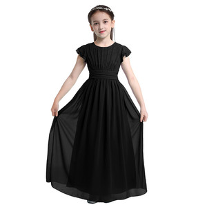 Image 3 - Kids Girls Flutter Sleeves Pleated High waisted With Sash Ties Floor Length Chiffon Dress Flower Girls Dresses for Wedding Party