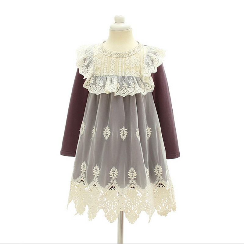 Spring Moda Infantil Girls Dress Floral Embroidery Long Sleeve Cute Childrens Robe Lace Mesh Princess Birthday Party Dresses floral lace mesh night dress
