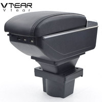 Vtear For Skoda A5 armrest box USB Charging interface heighten central Store content box cup holder ashtray accessories parts
